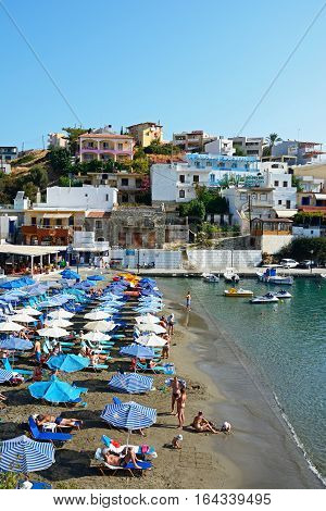 BALI, CRETE - SEPTEMBER 16, 2016 - Elevated view of tourists relaxing on the beach Bali Crete Greece Europe, September 16, 2016.