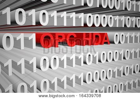 OPC HDA in the form of binary code, 3D illustration