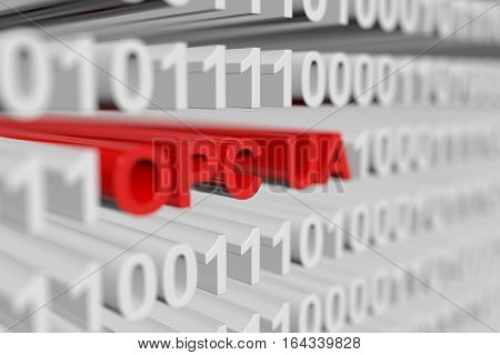 OPC UA as a binary code with blurred background 3D illustration