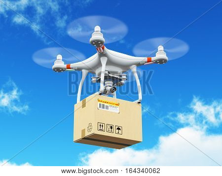 3D render illustration of delivery drone or quadcopter with corrugated cardboard container box flying in the blue sky with clouds
