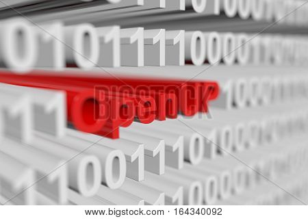 OpenUP is represented as a binary code with blurred background 3d illustration
