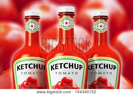 Creative abstract 3D render illustration of the group of three plastic bottles with tomato ketchup against macro view of the fresh red tomatoes background with selective focus effect