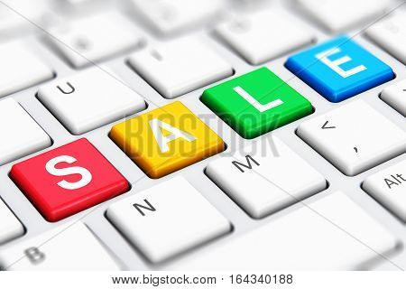 3D render illustration of the macro view of color Sale text word on buttons of white computer PC or laptop notebook keyboard keys with selective focus effect