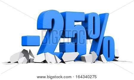 3D render illustration of blue minus 25 percent sign or symbol price cut off text on cracked surface isolated on white background