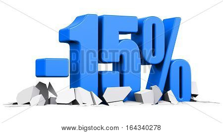 3D render illustration of blue minus 15 percent sign or symbol price cut off text on cracked surface isolated on white background