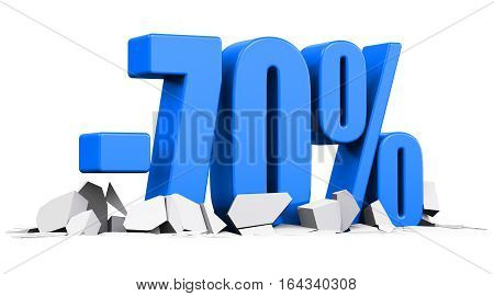 3D render illustration of blue minus 70 percent sign or symbol price cut off text on cracked surface isolated on white background