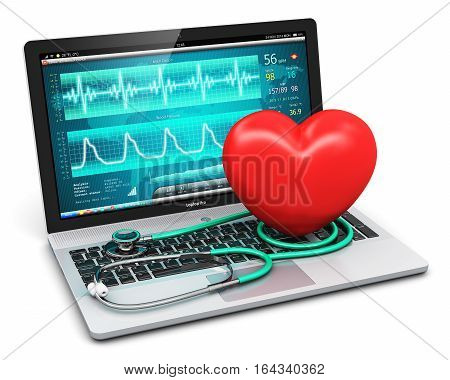 3D render illustration of laptop or notebook computer PC with medical cardiologic diagnostic test software on screen stethoscope and red heart shape isolated on white background