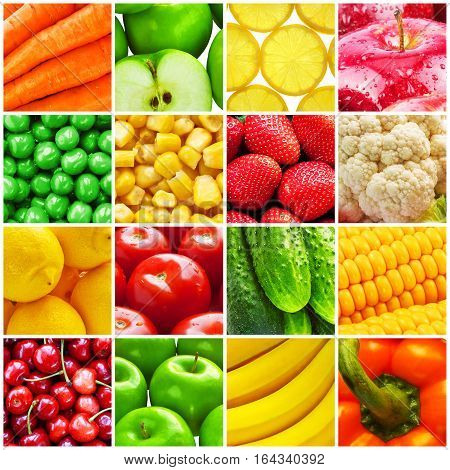 Colorful collage background from macro fresh fruits and color vegetables: apple, banana, lemon, strawberry, cherry, carrot, pea, corn, tomato, cucumber, carrot and cauliflower
