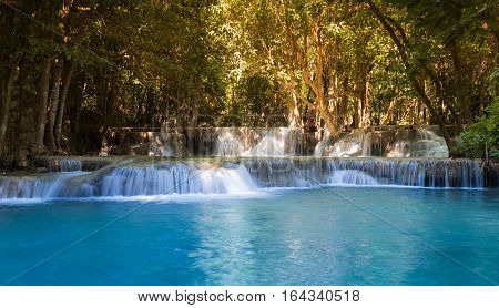 Natural deep forest blue stram waterfall natural landscape background