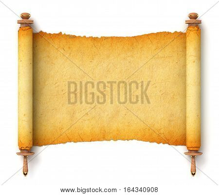 Ancient empty scroll. Torah unfurled with wooden handles. Torn piece of paper, ready for your message. Top view. Conceptual illustration. Isolated on white background. 3D illustration. 3D rendering