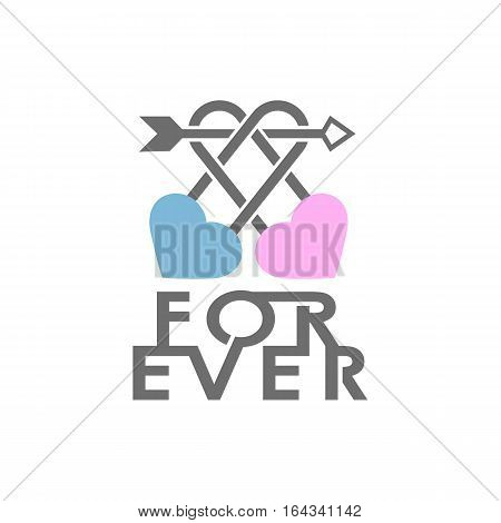 Wedding love vector design two hearts and lock logo. Saint Valentine day symbol with heart silhouette two locks and crossed arrow.