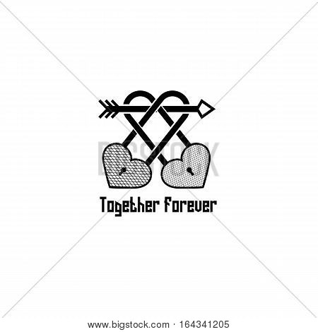 Pair of locks with arrow and heart silhouette vintage tattoo together forever isolated on white background.