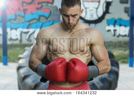 Strong muscular boxer in red boxing gloves