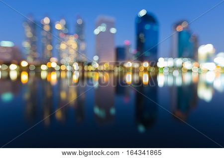 Twilight blurred bokeh lights offcie building abstract background