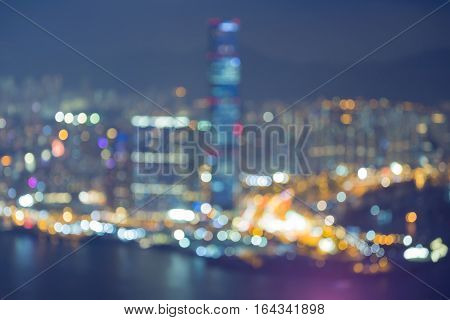 Night blurred lights Hong Kong city top view abstract background