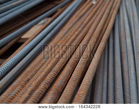 steel reinforcement bar texture in construction site.