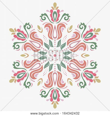 Oriental vector round colorful pattern with arabesques and floral elements. Traditional classic ornament. Vintage pattern with arabesques