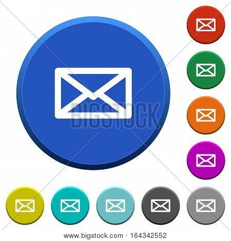 Message round color beveled buttons with smooth surfaces and flat white icons