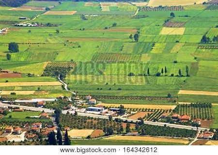Aerial view over agricultural fields in Turkey