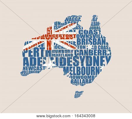 Map of Australia made from cities list. Textured by national flag. Vector illustration