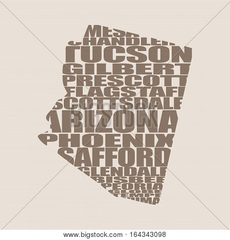 Word cloud map of Arizona state. Cities list collage