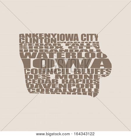 Word cloud map of Iowa state. Cities list collage