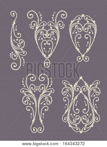 Set. pearl swirls white realistic pearl dividers set collection design elements and page decor.