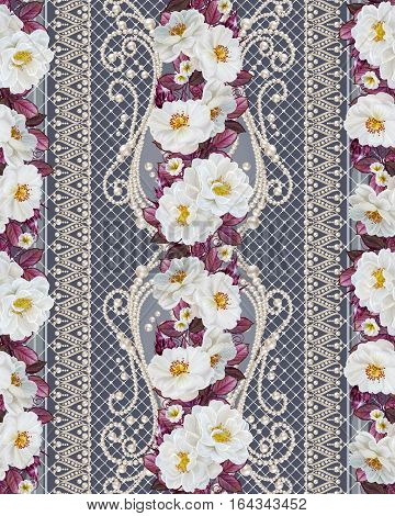 Flower border pattern seamless. Pearl delicate curls string of beads delicate lace weaving. Garland of roses red leaves. Old vintage style.