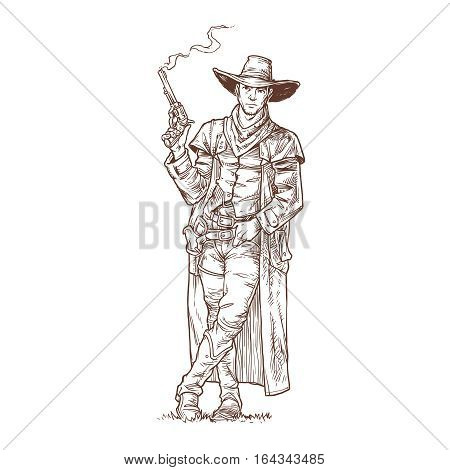Vector illustration contour of a robber with a smoking gun standing next to the announcement of his wanted list