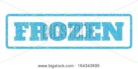 Light Blue rubber seal stamp with Frozen text. Vector message inside rounded rectangular banner. Grunge design and scratched texture for watermark labels. Horisontal sticker on a white background.