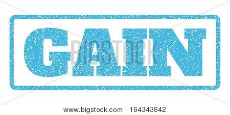 Light Blue rubber seal stamp with Gain text. Vector message inside rounded rectangular banner. Grunge design and unclean texture for watermark labels. Horisontal sign on a white background.