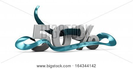 3D Illustration Of Gray Discount 50 Percent Off. Illustration For Promotion Discount Sale Advertisin