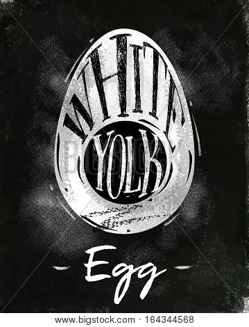 Poster egg cutting scheme lettering white yolk in vintage style drawing with chalk on chalkboard background