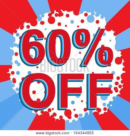 Red And Blue Sale Poster With 60 Percent Off Text. Advertising Banner