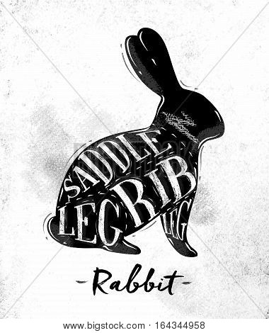 Poster rabbit cutting scheme lettering saddle leg rib in vintage style drawing on dirty paper background