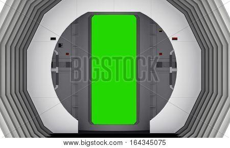 door to the corridor sc fi. 3d rendering