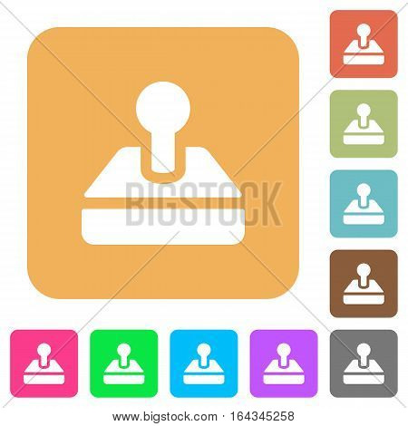 Retro joystick flat icons on rounded square vivid color backgrounds.