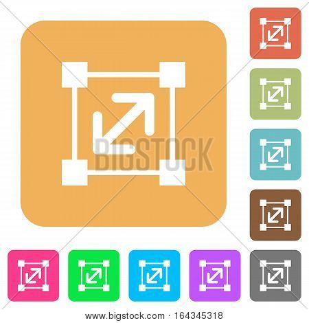 Resize element flat icons on rounded square vivid color backgrounds.