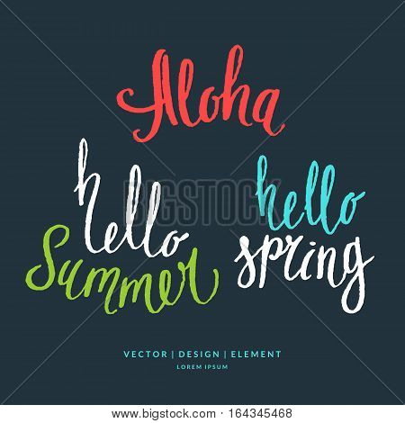 Modern hand drawn lettering word Aloha hello summer and spring. Calligraphy brush and ink. Handwritten inscriptions and quotes for layout and template. Vector illustration of text