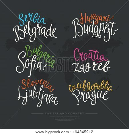 Set hand drawn lettering country and capital Europe. Calligraphy brush and ink. Handwritten inscriptions for layout and template. Vector illustration of text