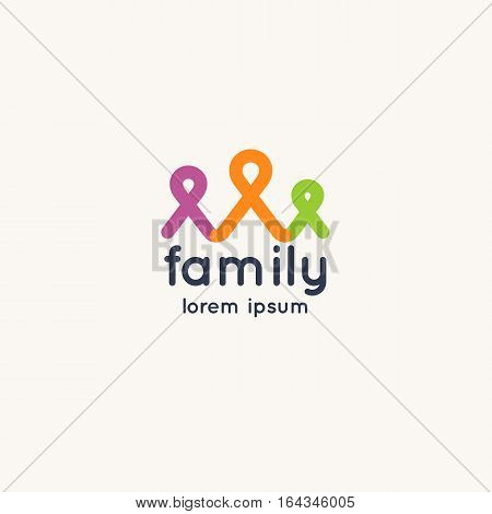 Logo family and social solidarity of the people. Vector sign.