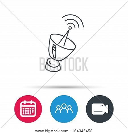 Antenna icon. Sputnik satellite sign. Radio signal symbol. Group of people, video cam and calendar icons. Vector