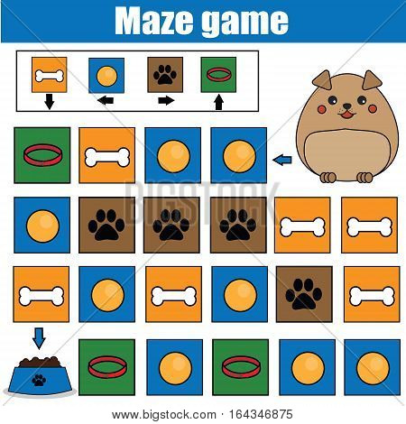 Maze children game: help the dog go through the labyrinth and find food. Kids activity sheet. Logic game with code and cipher navigation