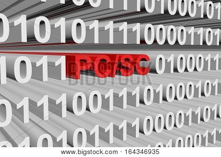 PC SC in the form of binary code, 3D illustration