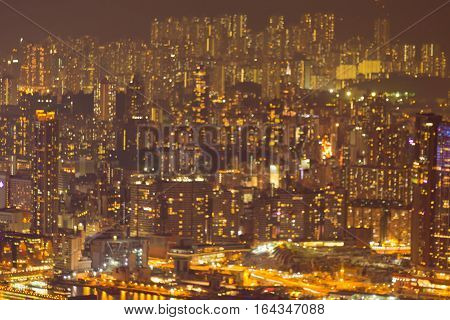 Night blurred lights Hong Kong city residence area abstract background