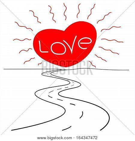 The long road to love sun heart on the horizon, romantic logo, poster