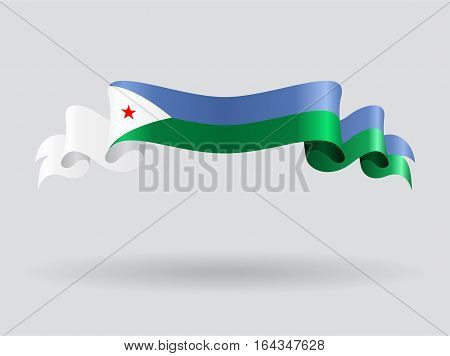 Djibouti flag wavy abstract background. Vector illustration.