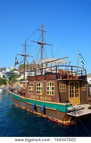 BALI, CRETE - SEPTEMBER 16, 2016 - Santa Maria Galleon ship in the harbour Bali Crete Greece Europe, September 16, 2016.
