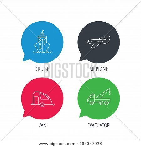 Colored speech bubbles. Transportation icons. Cruise, airplane and van linear signs. Evacuator flat line icon. Flat web buttons with linear icons. Vector