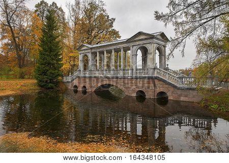 Marble (Palladian) bridge or Siberian Marble Gallery in Catherine park, Tsarskoye Selo (Pushkin), architect V. Neyelov, neighborhood of Saint-Petersburg, Russia